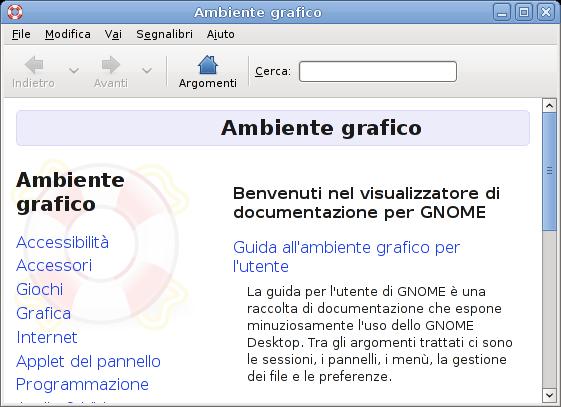 Finestra di visualizzatore di documentazione Yelp